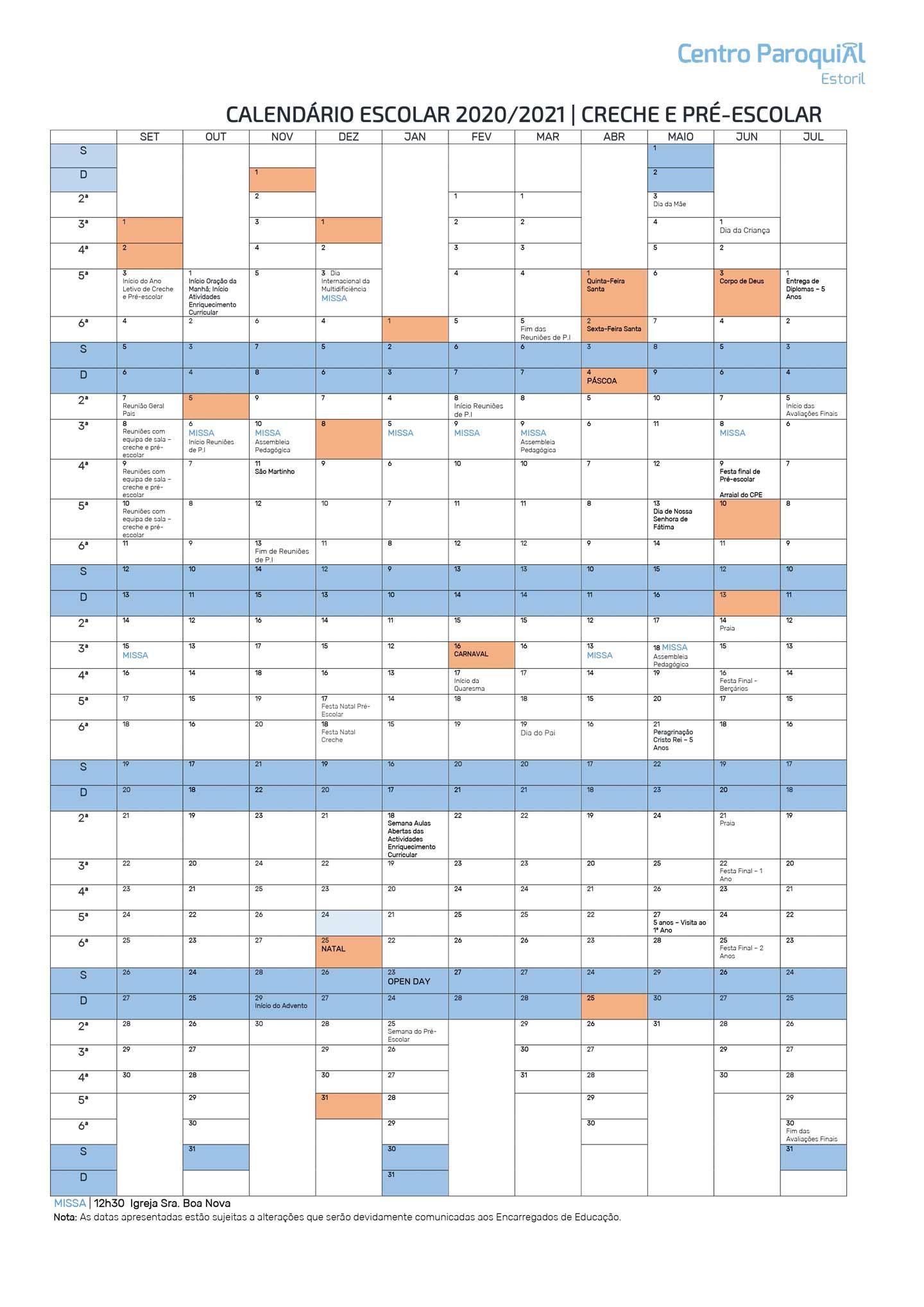 Calendário Creche